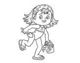 Dibujo de Niña con cubo y pala de playa para colorear