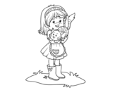 Dibujo de Niña con gatito