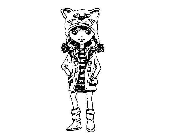 Dibujo de Niña con gorro de gato para Colorear