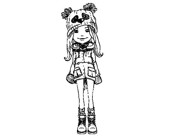 Dibujo de Niña con gorro y abrigo para Colorear