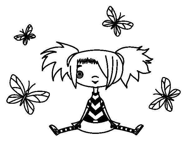Dibujo de Niña con mariposas para Colorear