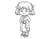 Dibujo de Niña con pijama para colorear
