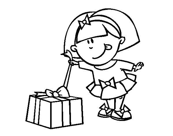 Dibujo de Niña con regalo para Colorear