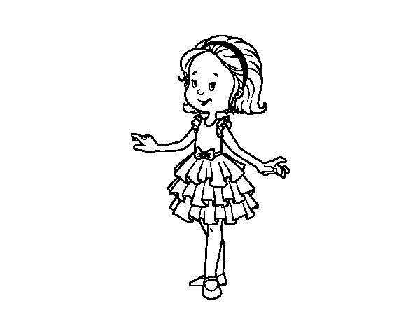 Imagenes Para Colorear De Niña: Vestido Ni?a Dibujo