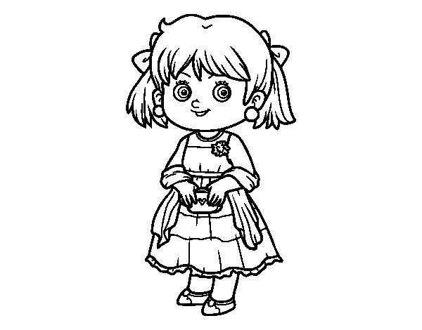 Dibujo de Niña con vestido elegante para Colorear