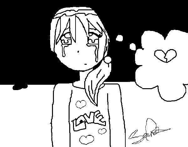 Dibujo de Niña llorando para Colorear