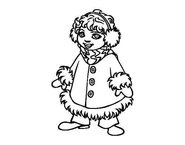 Dibujo de Niña muy abrigada para Colorear