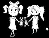 Dibujo de Niñas con peluches