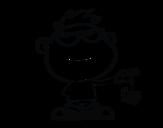 Dibujo de Niño con araña para colorear