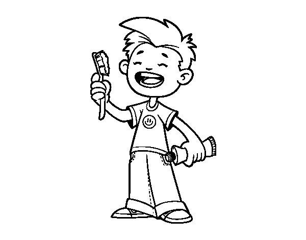 Dibujo de Niño con cepillo de dientes para Colorear