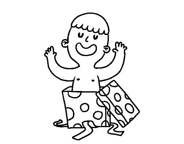 Dibujo de Niño jugando con una caja de regalo para Colorear