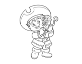 Dibujo de Niño pirata y su mono mascota para colorear