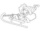 Dibujo de Niños tirandose por la nieve III para colorear