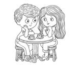 Dibujo de Niños tomando café para colorear