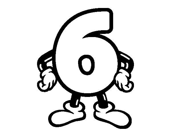 Dibujo de Número 6 para Colorear