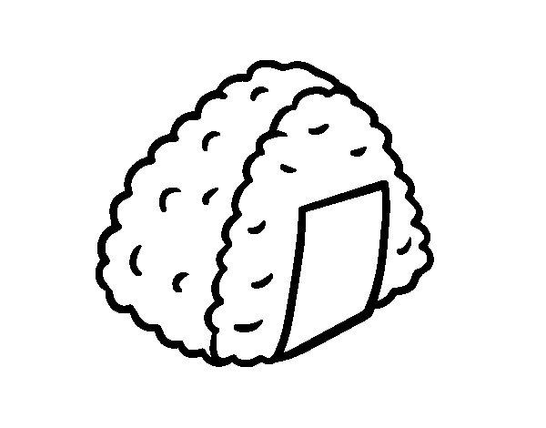 Dibujo de Onigiri de arroz para Colorear