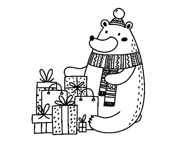 Dibujo de Oso con regalos de Navidad para Colorear
