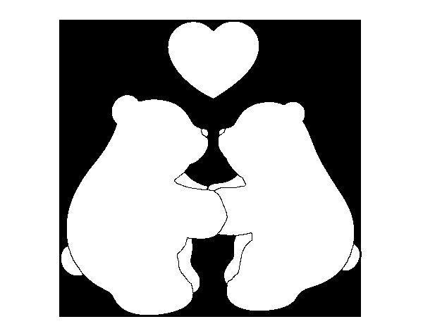 Dibujo de Osos polares enamorados para Colorear