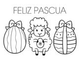 Dibujo de Ovejita con Huevos de Pascua