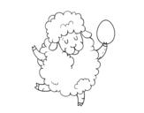 Dibujo de Ovejita de Pascua para colorear