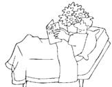 Dibujo de Paciente leyendo para colorear