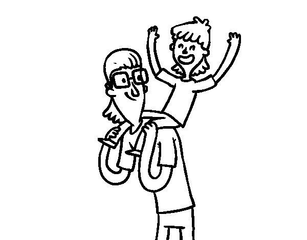 Dibujo de Padre con gafas para Colorear