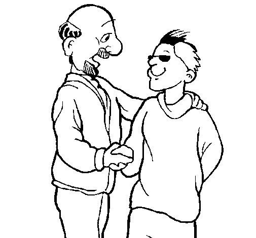 Dibujo de Padre e hijo se estrechan la mano para Colorear