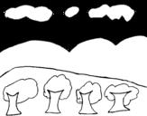 Dibujo de Paisaje con montañas para colorear