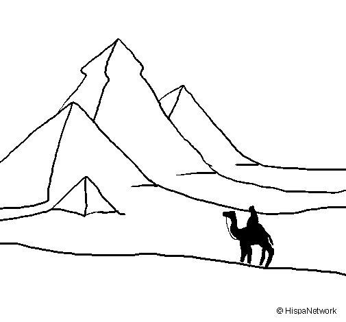 Dibujo de Paisaje con pirámides para Colorear
