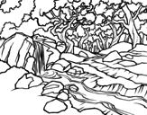Dibujo de Paisaje de bosque con un río para colorear