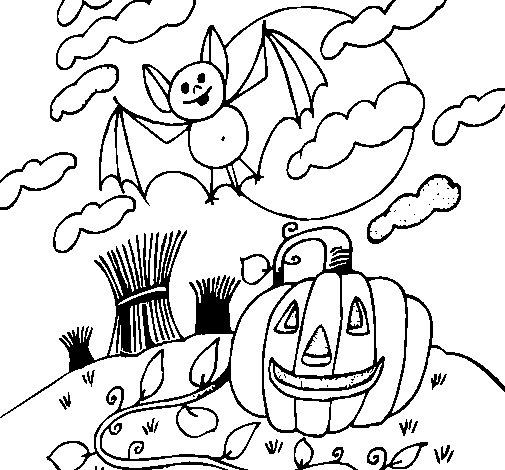 Dibujo de Paisaje de Halloween para Colorear