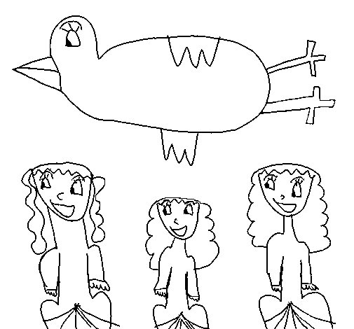 Dibujo de Pájaro sobrevolando a unas niñas para Colorear