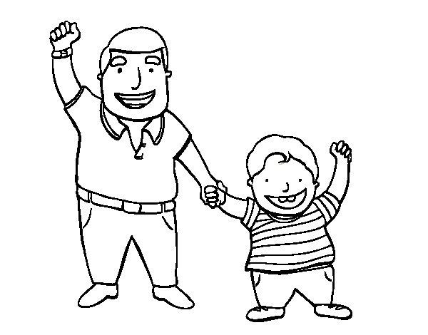Dibujo de Papá e hijo para Colorear
