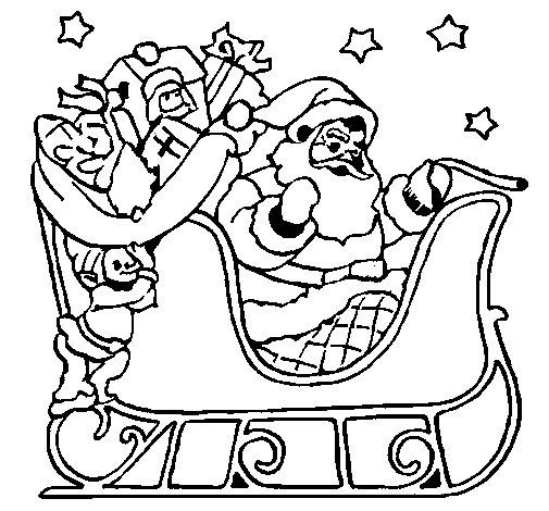 Dibujo de Papa Noel en su trineo para Colorear