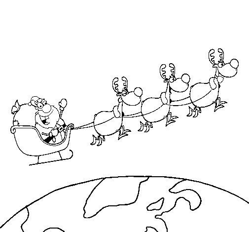Dibujo de Papa Noel repartiendo regalos 3 para Colorear