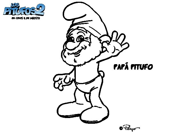 Dibujo de Papá Pitufo para Colorear