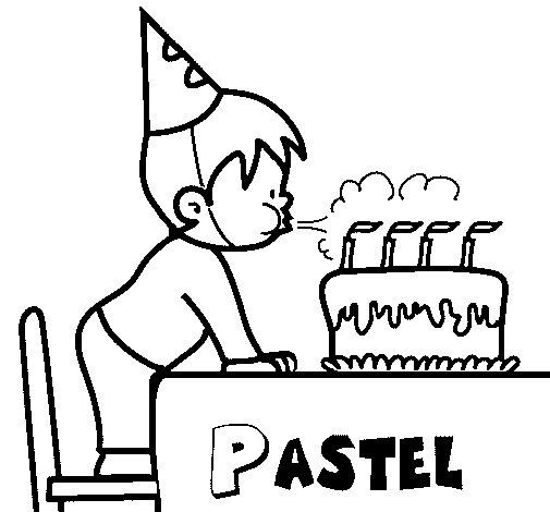 Dibujo de Pastel de cumpleaños III para Colorear
