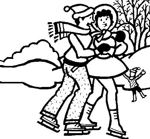 Dibujo de Patinadores sobre hielo para Colorear