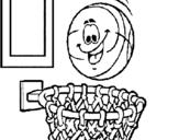 Dibujo de Pelota y canasta