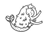 Dibujo de Pequeña sirena para colorear