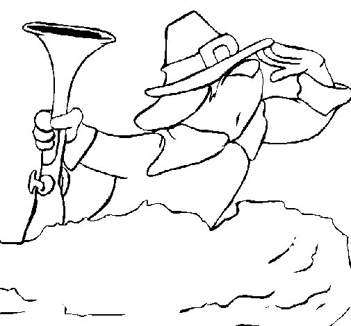Dibujo de Peregrino ojeando para Colorear