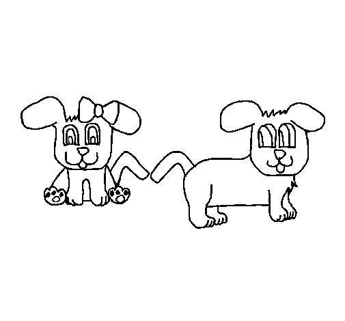 Dibujo de Perritos para Colorear
