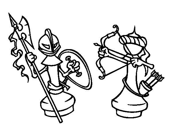 Dibujo de Piezas de ajedrez para Colorear