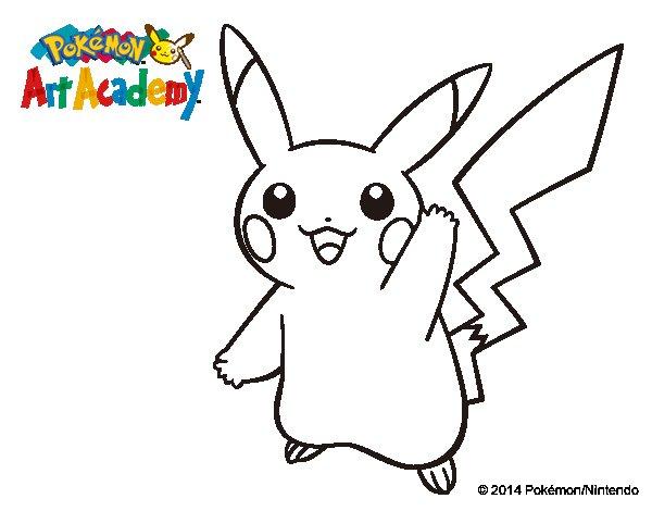 150 Dibujos De Pokemon Para Colorear: Dibujo De Pikachu Saludando Para Colorear