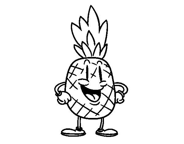 Dibujo de Piña animada para Colorear - Dibujos.net