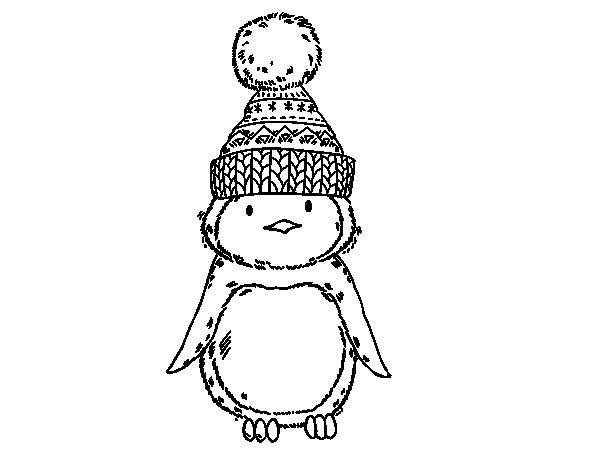 Dibujo de Pingüino con gorro de invierno para Colorear