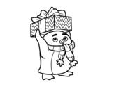 Dibujo de Pingüino con regalo de Navidad para colorear