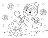 Dibujo de Postal de Navidad muñeco de nieve para colorear