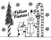 Dibujo de Postal Felices Fiestas para colorear