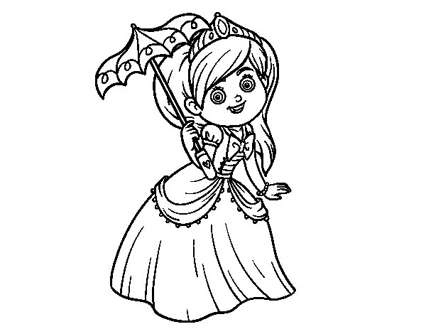 Dibujos De Principes Y Princesas Para Colorear: Dibujo De Princesa Con Parasol Para Colorear